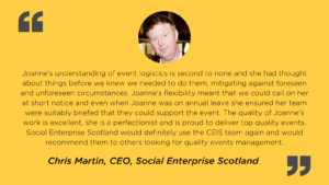Event management client testimonial and picture from Social Enterprise Scotland CEO, Chris Martin