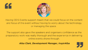 Event management client testimonial and picture from Ailsa Clark, InspirAlba