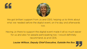 Client testimonial and picture for digital event services by Louise Willson, Outside the Box