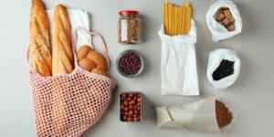 Various food items in sustainable packaging